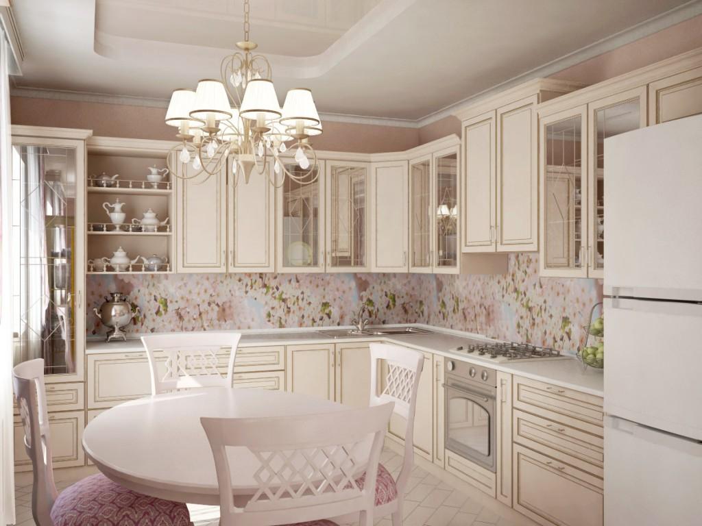 Дизайн кухни с 2 окнами на разных